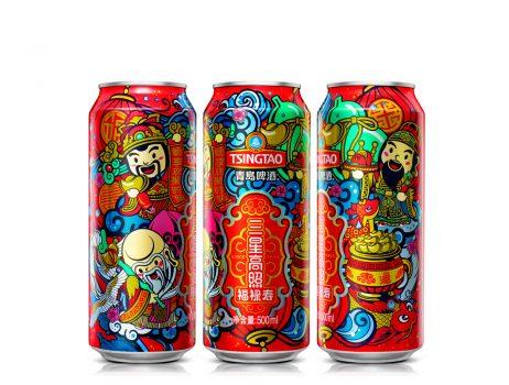 Tsingtao Beer -The three gods of fortune prosperity and longevity